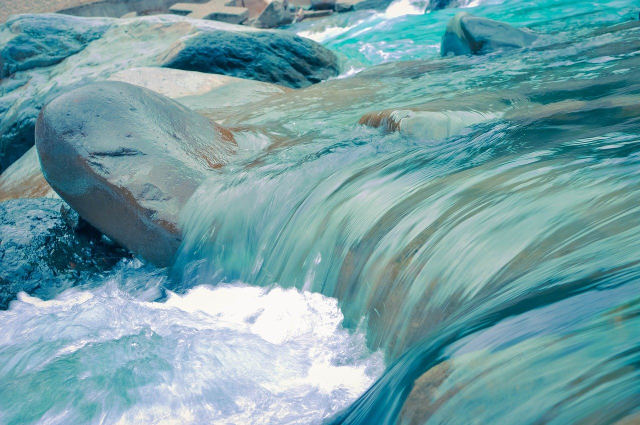 water, rapids, stream